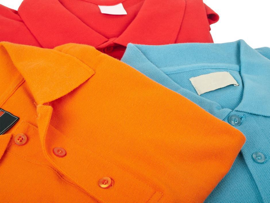 Custom colorful polo shirts.