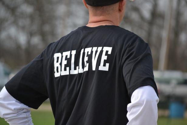 A sports fan wearing custom sportswear.